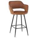Morris Modern Counter Stool in Brown + Black