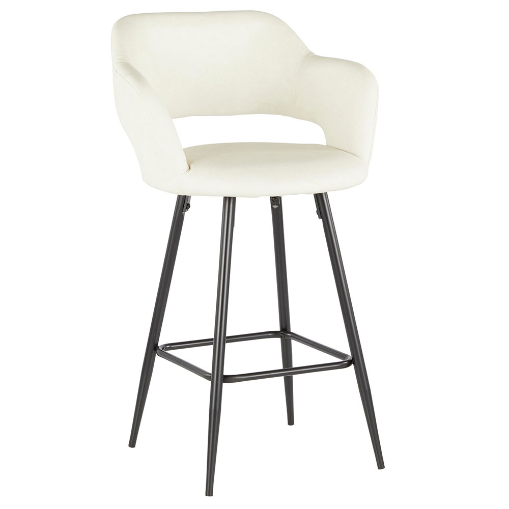 Morris Modern Counter Stool in Cream + Black