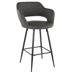 Morris Modern Counter Stool in Gray + Black