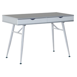 Moss Modern Desk with Drawers in White + Gray