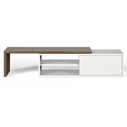 Move White + Walnut Contemporary Adjustable TV Stand by TemaHome