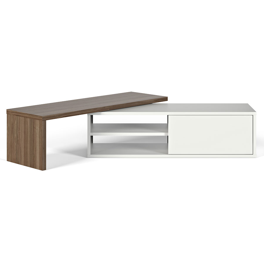 Temahome move walnut white tv stand eurway furniture for Meuble console tv