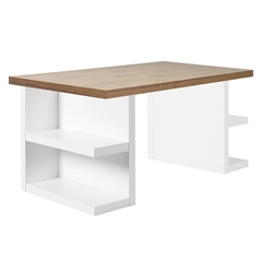 Multi Modern White + Walnut Storage Desk by TemaHome