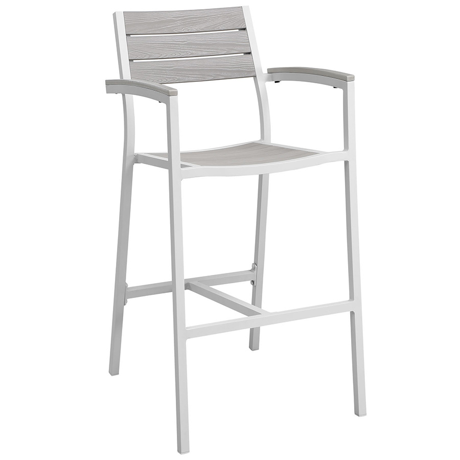 Murano White Modern Outdoor Bar Stool