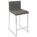 Murphy Modern Walnut + Gray Counter Stool