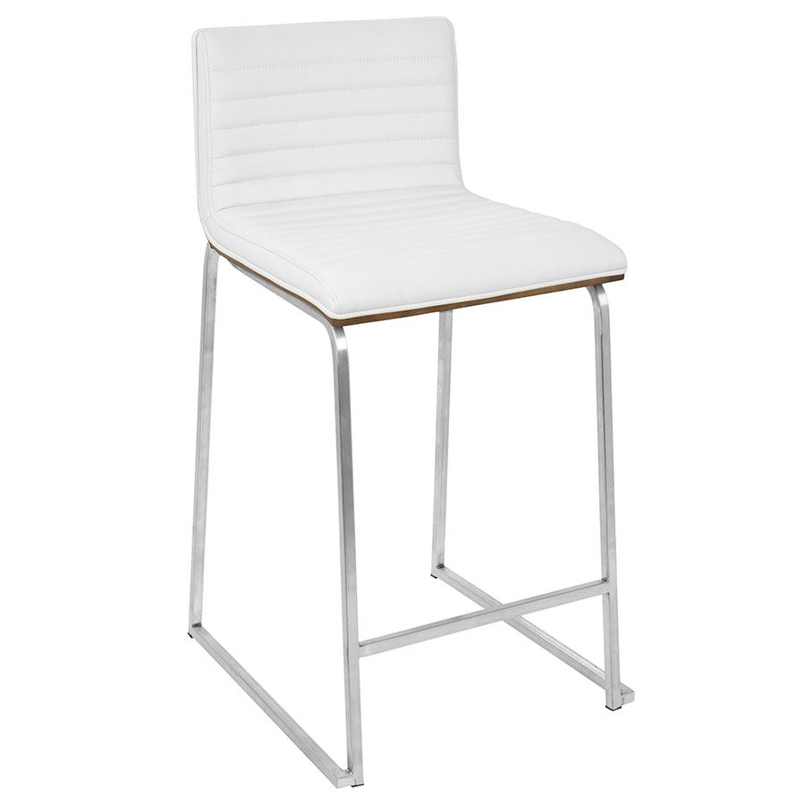 Murphy Modern Walnut + White Counter Stool