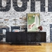 Gus* Modern Myles Satin Black Oak + Rose Gold Metal Contemporary Credenza