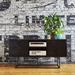 Gus* Modern Myles Satin Black Oak + Rose Gold Metal Media Stand