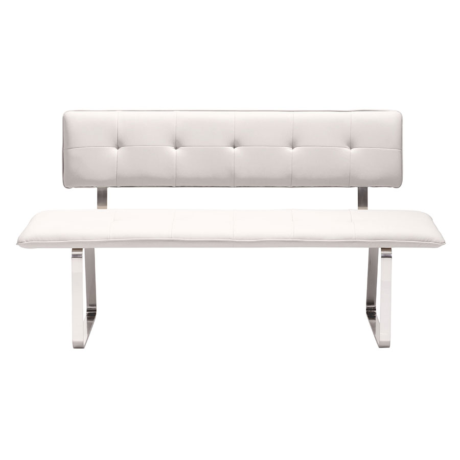 Nadia White Contemporary Dining Bench · Nadia White Modern Dining Bench ...