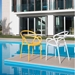 Nadir Modern White + Yellow Outdoor Dining Chairs