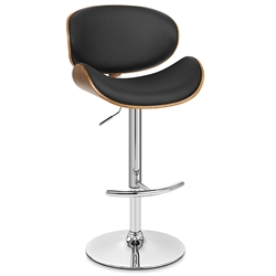 Nagoya Contemporary Adjustable Black + Walnut Stool