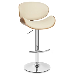 Nagoya Contemporary Adjustable Cream + Walnut Stool