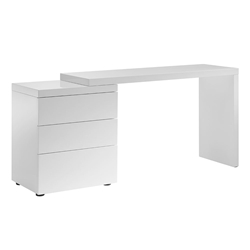 Nancy High Gloss White Lacquer Modern Adjustable Desk