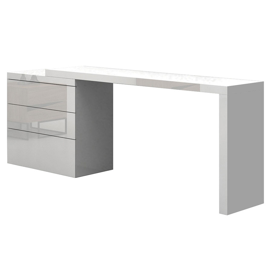 Call To Order Nancy High Gloss White Lacquer Modern Adjule Desk