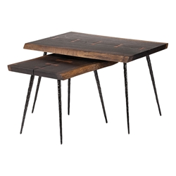 Naples Seared Oak Live Edge Nesting Side Tables With Butterfly Inlays and Black Iron Legs