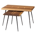 Naples Smoked Oak Live Edge Contemporary Nesting Side Tables With Butterfly Joinery