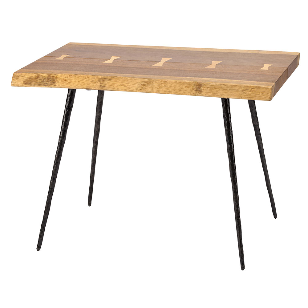 Naples Smoked Oak Live Edge Side Table With Butterfly Inlays and Black Iron Legs
