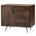 Naples Seared Oak + Black Rustic Metal Modern Sideboard
