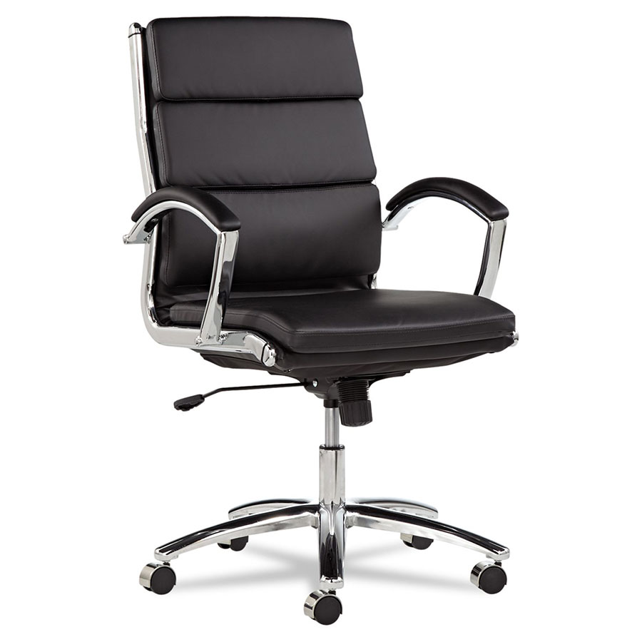 modern office chair leather. Napoli Black Modern Mid Back Office Chair Leather