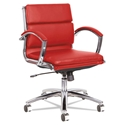 Napoli Red Modern Leather Low-Back Office Chair