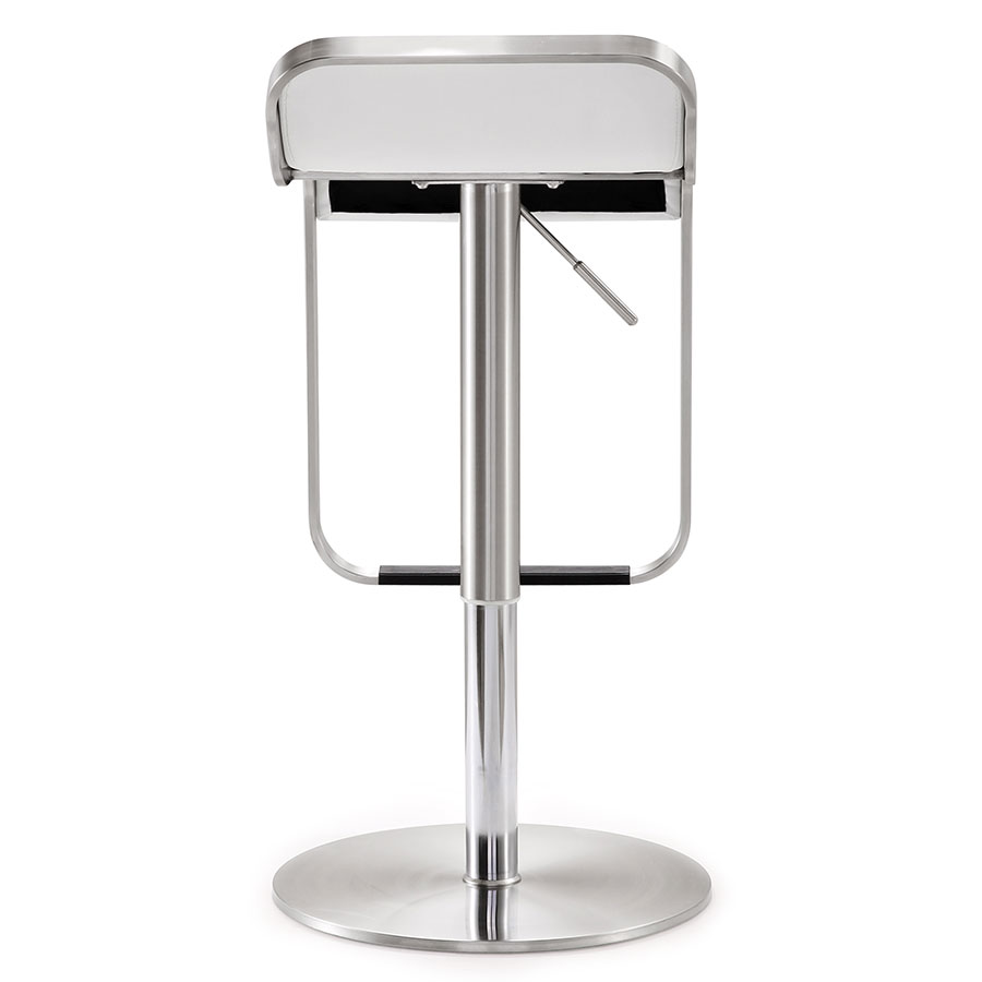 modern stools  narbonne white adjustable stool  eurway -  narbonne modern white adjustable stool  back view