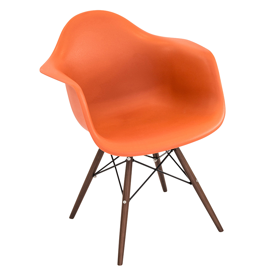 ... Nashua Orange Plastic + Espresso Wood Contemporary Arm Chair