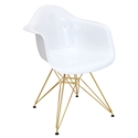 Nashua White + Gold Modern Arm Chair