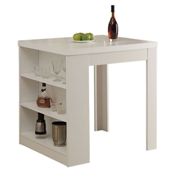 Natahsa Modern White Counter Table w/ Storage