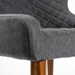 Navi Gray Fabric + Walnut Painted Steel Chair - Arm Detail