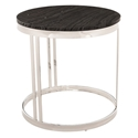 Nicola Black Marble + Polished Steel Round Modern Side Table