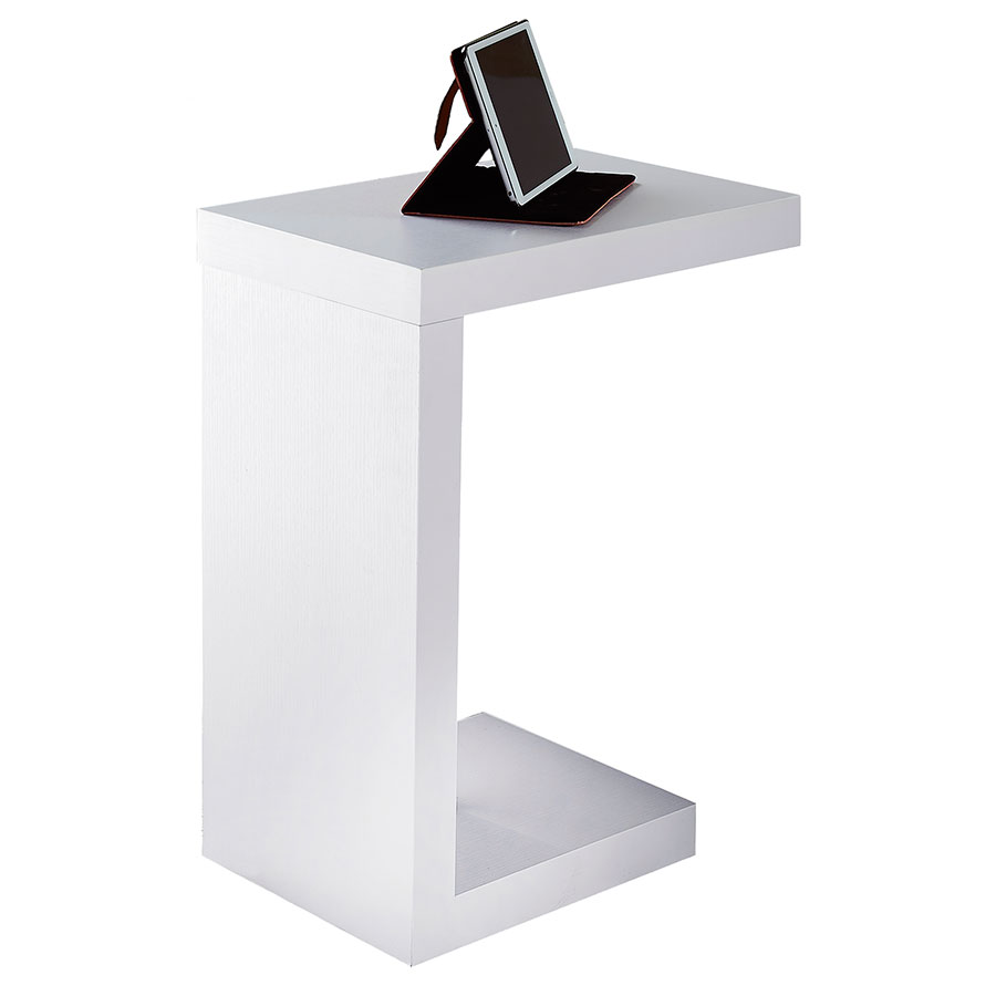 nick white modern accent table  eurway modern - nick modern white accent table