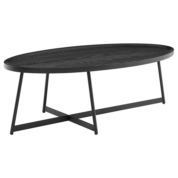 Niklaus Modern Oval Black Ash Coffee Table by Euro Style