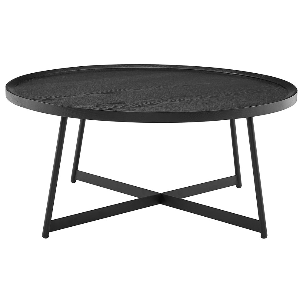 Niklaus Modern Round Black Ash Coffee Table by Euro Style
