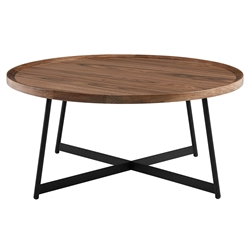 Niklaus Modern Round Walnut Coffee Table by Euro Style