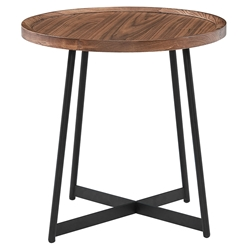 Niklaus Modern Round Walnut Side Table by Euro Style