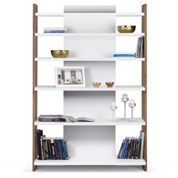 Niko Modern Walnut + Pure White Shelving Unit by TemaHome