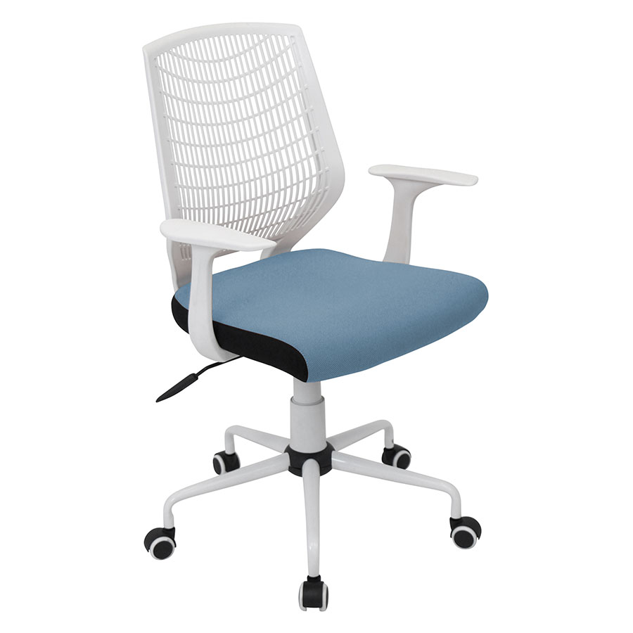 Norfolk White + Blue Modern Office Chair