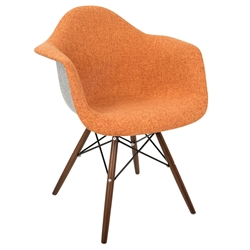 Norwalk Mid-Century Modern Orange + Gray Armchair