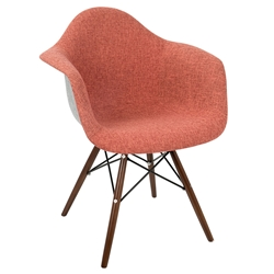 Norwalk Mid-Century Modern Red + Gray Armchair