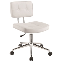 Norway Modern White Task Chair - Lowered Position