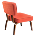 Norwich Orange Fabric + Wood Contemporary Chair