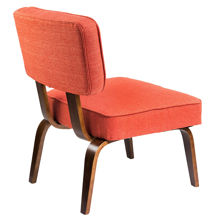 ... Norwich Orange Fabric + Wood Contemporary Chair ...
