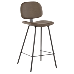Norwich Brown Faux Leather Modern Counter Stool