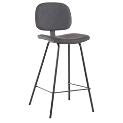 Norwich Gray Faux Leather Modern Counter Stool