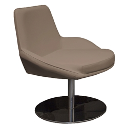 OBrien Taupe Leather + Chrome Swivel Modern Lounge Chair
