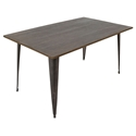 Oakland 59 Inch Antique + Espresso Rustic Modern Dining Table