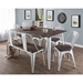 Oakland Chairs, Bench + 59 Inch White + Espresso Table