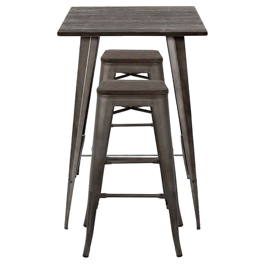 Set Oakland Antiqued Steel Espresso Finish Wood Modern Bar Table Stools