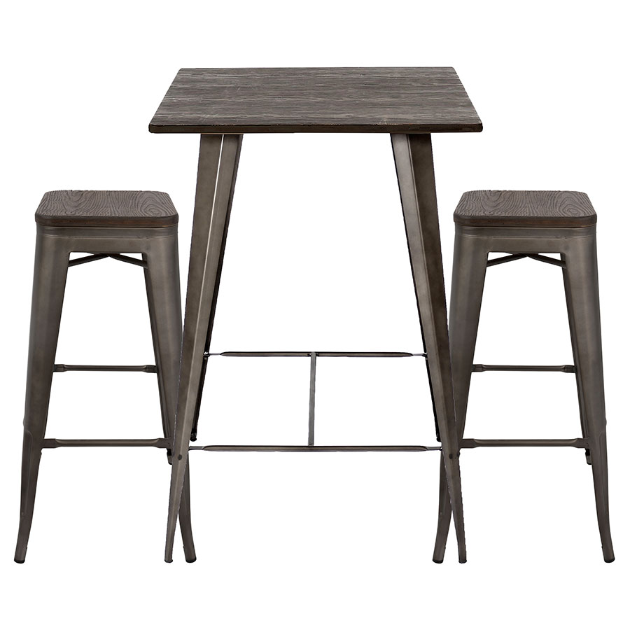 Oakland Antiqued Steel Espresso Finish Wood Contemporary Bar Table Stools Set