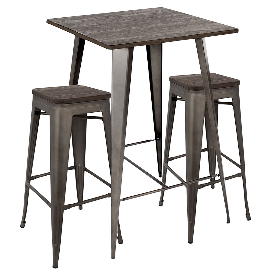 Oakland Antiqued Steel + Espresso Finish Wood Modern Industrial Bar Table + Stools Set